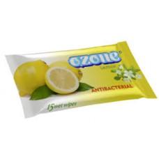 """Вологі серветки """"OZONE"""" з ароматом лимона 15 шт"""